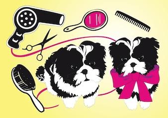 salon de beauté, mignonne chiens