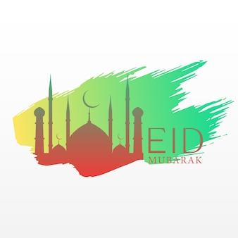 Salutation élégante du festival eid avec des éclaboussures de la mosquée et de l'encre