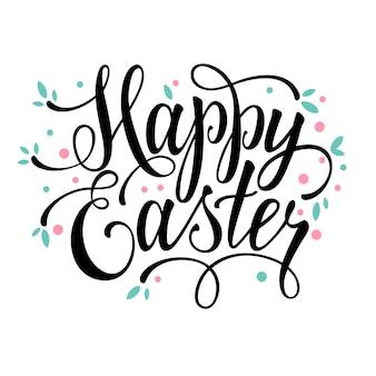 Salutations joyeuses fêtes de Pâques signe calligraphique