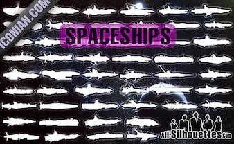 sans vaisseaux spatiaux vecteur silhouettes