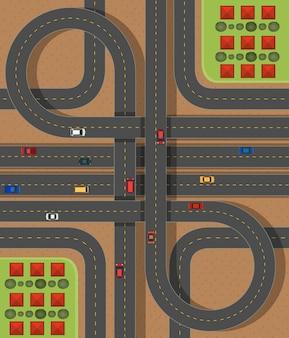 Scène aérienne avec routes et voitures