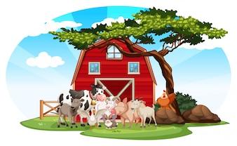 Scène agricole avec des animaux