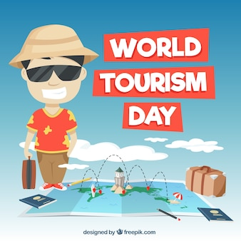 Scène amusante pour le jour du tourisme mondial