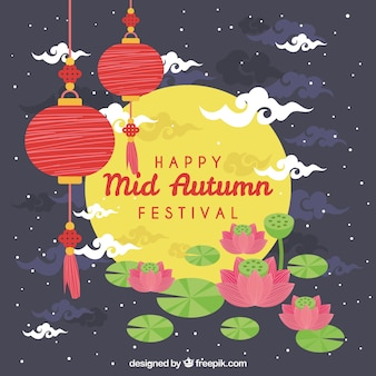 Scène avec une pleine lune, festival de mi-automne