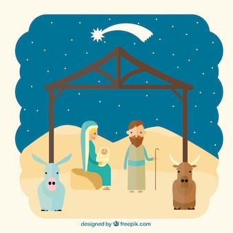 Scène de la Nativité au design plat