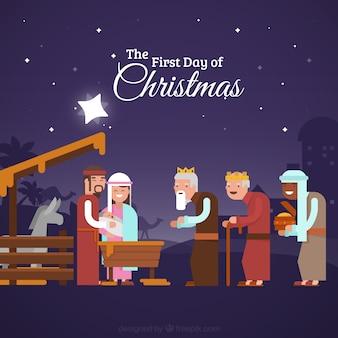 Scène de la Nativité avec l'homme sage