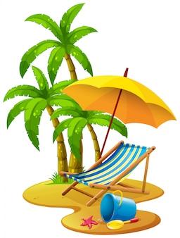 Scène de plage avec chaise et parapluie