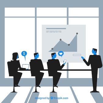 Scène de réunion des gens d'affaires en conception plate