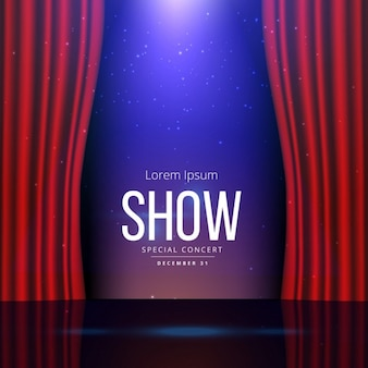 Scène de théâtre avec des rideaux ouverts