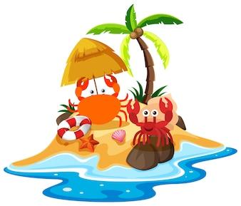 Scène océanique avec des crabes sur la plage
