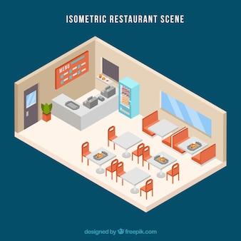 Scène restaurant isométrique avec design plat