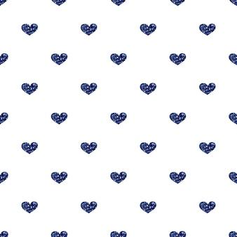 Seamless blue heart glitter pattern on white background