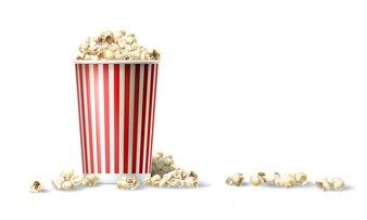 Seau de carton rouge et blanc avec du pop-corn en style réaliste