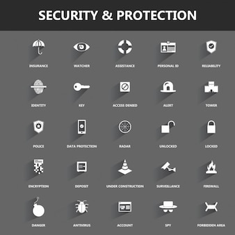 Sécurité et protection icon set