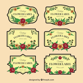 Sélection de six étiquettes florales anciennes