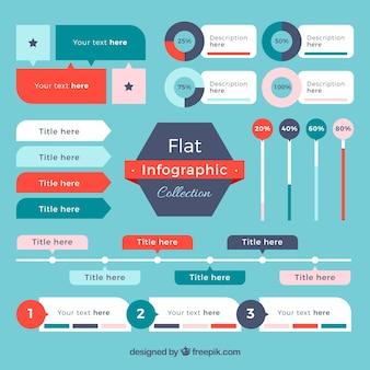 Sélection plat d'éléments infographiques