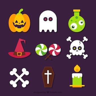 Set d'accessoires et de bonbons d'Halloween en design plat