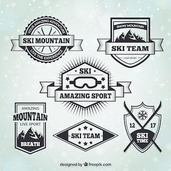 Set de badges de ski de style vintage