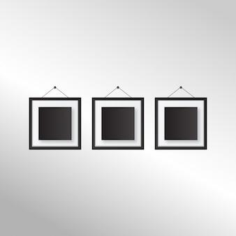 Set of Vintage cadre photo noir isolé avec chemin de détourage