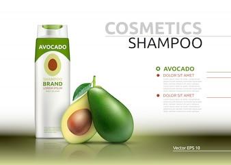 Shampooing cosmétique réaliste maquette d'essence d'avocat paquet.