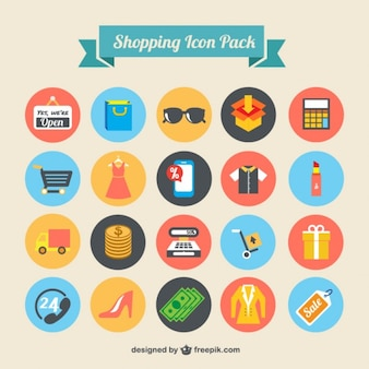 Shopping icons emballent