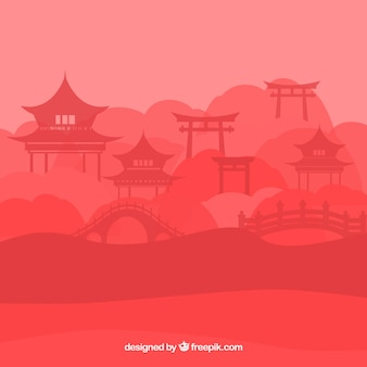 Silhouette de paysage chinois avec pagode