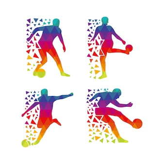 Silhouette du footballeur multicolore
