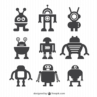 Silhouettes collection de robots de vecteur