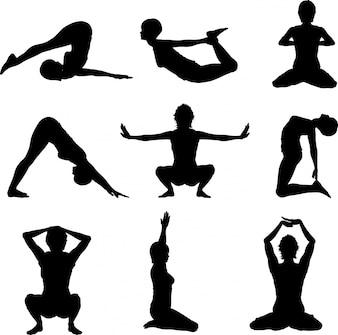 Silhouettes de femelles dans diverses poses de yoga