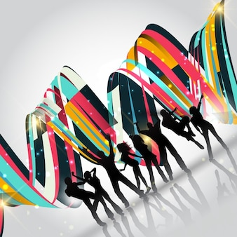 Silhouettes de gens qui dansent sur un fond abstrait