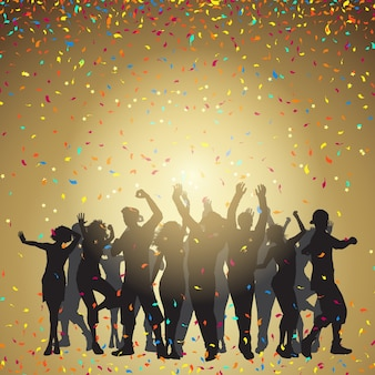 Silhouettes de personnes dansant sur fond de confettis