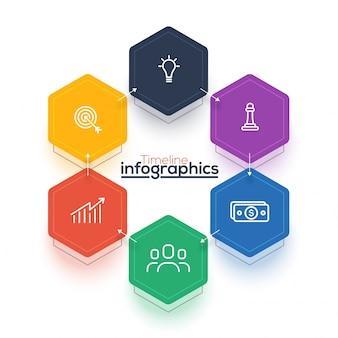 Six étapes, la mise en page Infographie de la chronologie avec les icônes définies, en noir et blanc et des versions colorées.