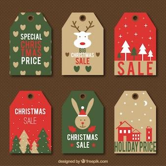 Six étiquettes de vente vintage avec conceptions mignonnes de noël