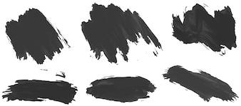 Six traits différents d'encre noire