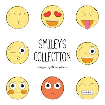 Smileys dessinés à la main emballent