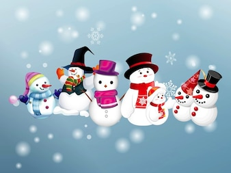 souriant famille de bonhomme de neige