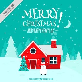 Sourire bonhomme de neige avec une maison fond rouge
