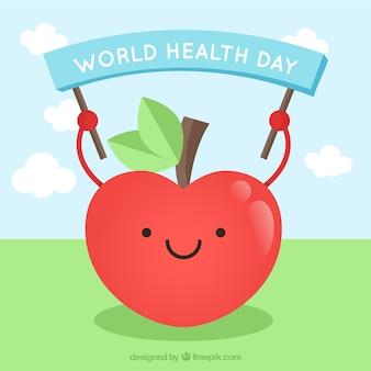 Sourire pomme rouge pour le jour de la santé mondiale
