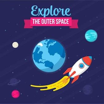 Space ship volant près de l'illustration de la Terre