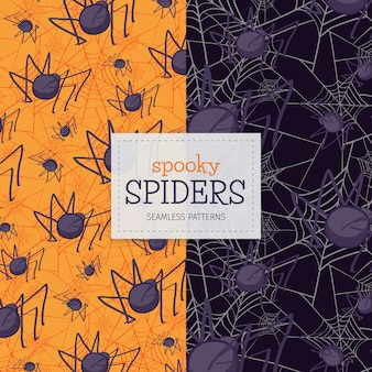 Spooky Spiders seamless patterns for Halloween