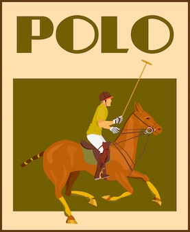 Sport polo club player dans casque avec mallet à cheval poster illustration vectorielle