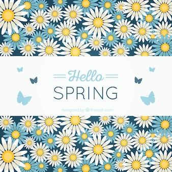 Spring fond avec des fleurs et des papillons
