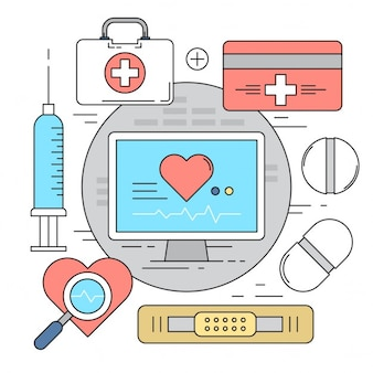 Style linéaire Vector Elements Medical Icons Colorful Backgrounds