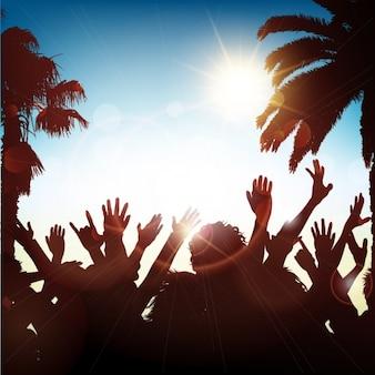 Summer background du parti avec des silhouettes