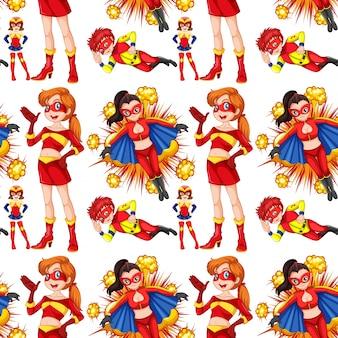 Super-héros féminin sans soudure en illustration rouge