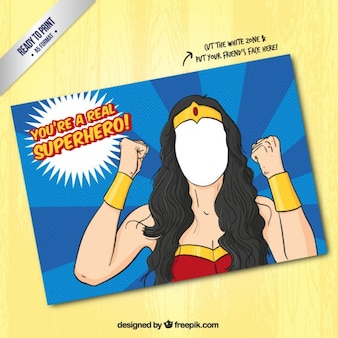 Super-héros Femme modèle de carte