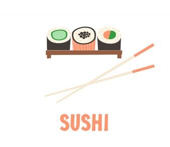 Sushi. Illustration vectorielle de sushi alimentaire japonaise.