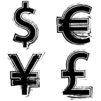 Symboles des monnaies dans le style grunge