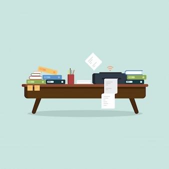 Table de bureau occupée