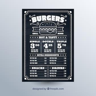 Tableau noir avec menu fast food
